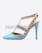 buz mavisi zımba bantlı topuklu sandalet sk6269