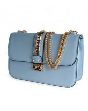 buz mavisi zımba detaylı zincirli çanta sk6368