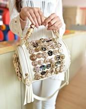 düğme süslü tasarım silindir beyaz el çantası sk5898