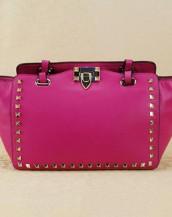 fuşya zımbalı trapeze kol çantası sk6309
