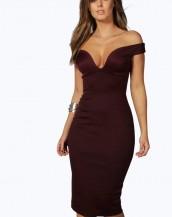 göğüs dekolteli dizaltı bordo gece elbisesi sk8178