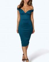 göğüs dekolteli dizaltı mavi gece elbisesi sk8178