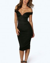 göğüs dekolteli dizaltı siyah gece elbisesi sk8178
