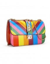 gökkuşağı rengi zımba detaylı zincirli çanta sk6368