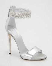 gümüş rengi yüksek topuklu taşlı sandalet sk5856
