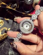 gümüş taş işlemeli lüks kol saati sk7945