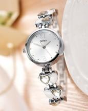 gümüş taşlı kordonlu zarif kol saati sk8032