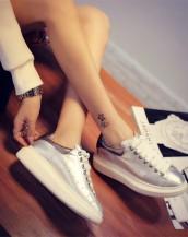 gümüş yüksek tabanlı spor ayakkabı sk6793