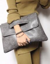 gri çıtçıtlı deri el omuz çantası sk6531