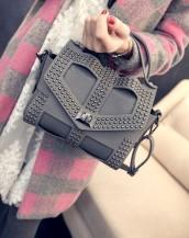 gri zımbalı deri kol çantası sk5646