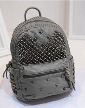 gri zımbalı deri sırt çantası sk7050