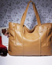 hakiki deri bej rengi tote kol çantası sk7919