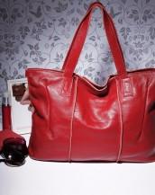 hakiki deri kırmızı tote kol çantası sk7919