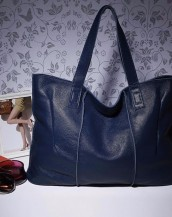 hakiki deri lacivert tote kol çantası sk7919