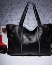 hakiki deri siyah tote kol çantası sk7919