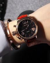 kırmızı deri kordonlu taş detaylı saat sk8004