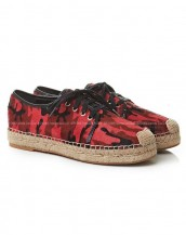 kırmızı desenli bağcıklı espadril ayakkabı sk7768