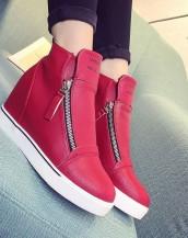 kırmızı gizli topuk çift fermuarlı sneaker sk5708