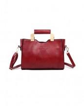 kırmızı metal saplı deri çanta sk6339