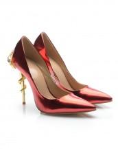 kırmızı yılan topuk detaylı rugan stiletto sk6164