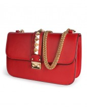 kırmızı zımba detaylı zincirli çanta sk6368