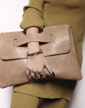 kahverengi çıtçıtlı deri el omuz çantası sk6531