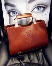 kahverengi metal saplı deri çanta sk6339