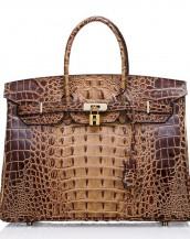 kahverengi timsah desenli tote çanta sk7125