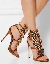 kanat motifli altın deri topuklu sandalet sk7207