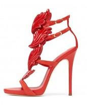 kanat motifli kırmızı deri topuklu sandalet sk7207