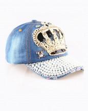 kraliçe tacı boncuk süslemeli mavi tarz şapka sk8085