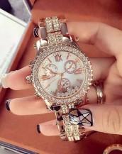 kristal lüks taşlı bej kol saati sk7987