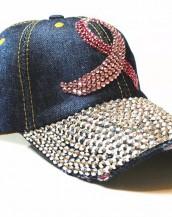 lacivert taşlı zımbalı denim kot şapka sk5910