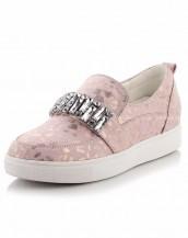 leopar detaylı pembe taşlı ayakkabı sk7780
