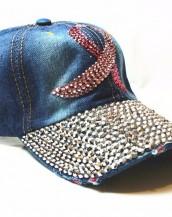 mavi taşlı zımbalı denim kot şapka sk5910