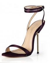 mor metal topuklu tokalı sandalet sk6495
