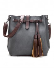 püsküllü gri deri omuz çantası sk7388
