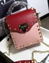 pudra kırmızı zımbalı zincirli mini çanta sk6357