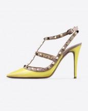 sarı zımba bantlı topuklu sandalet sk6269