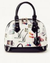 siyah beyaz karikatür baskılı rugan çanta sk6858