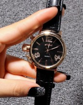 siyah deri kordonlu taş detaylı saat sk8004