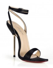 siyah metal topuklu tokalı sandalet sk6495
