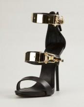siyah tokalı topuklu hakiki deri sandalet sk6682