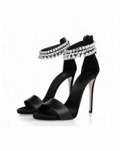 siyah rengi yüksek topuklu taşlı sandalet sk5856