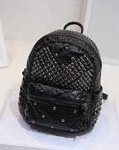 siyah zımbalı deri sırt çantası sk7050