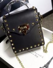 siyah zımbalı zincirli mini çanta sk6357