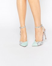 su yeşili yılan derisi desenli topuklu ayakkabı sk7974