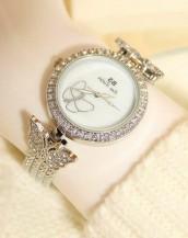 swarovski taş süsleme kelebekli gümüş kol saati sk7884