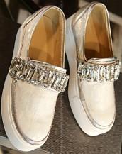 taş süslemeli simli beyaz bez ayakkabı sk7758