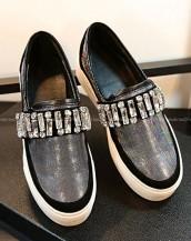 taş süslemeli simli siyah bez ayakkabı sk7758